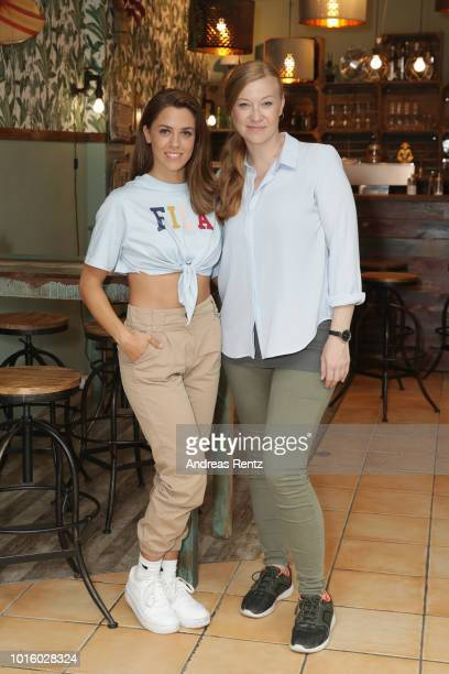 Singer Vanessa Mai and actress Franziska Arndt pose for a photograph during a photo call for the new tv series 'Freundinnen Jetzt erst recht' on...