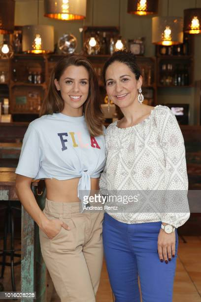 Singer Vanessa Mai and actress Shirin Soraya pose for a photograph during a photo call for the new tv series 'Freundinnen Jetzt erst recht' on August...