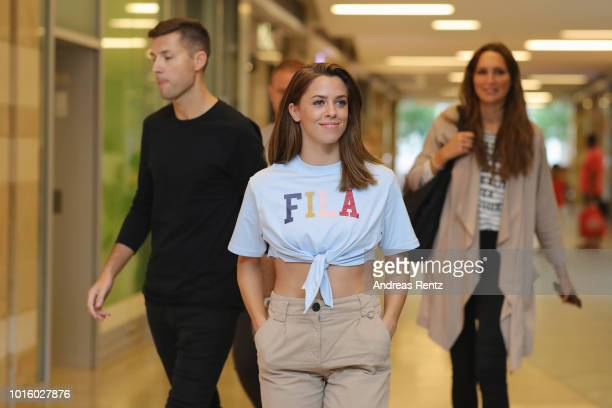Singer Vanessa Mai and her manager and husband Andreas Ferber arrive for a photo call for the new tv series 'Freundinnen Jetzt erst recht' on August...