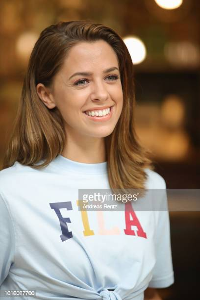 Singer Vanessa Mai poses for a photograph during a photo call for the new tv series 'Freundinnen Jetzt erst recht' on August 13 2018 in Grevenbroich...