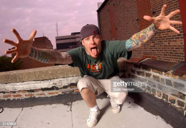 Singer Vanilla Ice poses on May 17 2003 on a rooftop in Bloomington Illinois