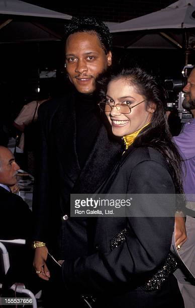 Singer Vanity and date attend PCC Celebrity Art Show on September 11 1991 at Stringfellow's in Beverly Hills California