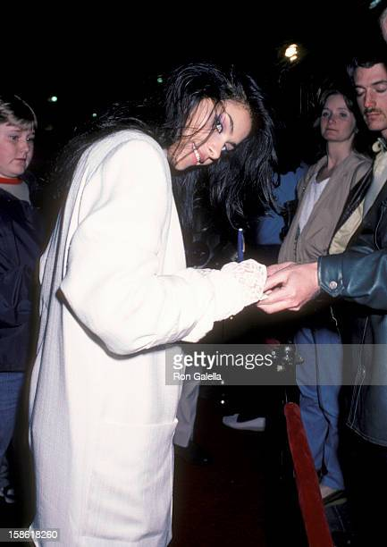 Singer Vanity attends the premiere of A Fine Mess on March 19 1986 at the Comedy Store in West Hollywood California