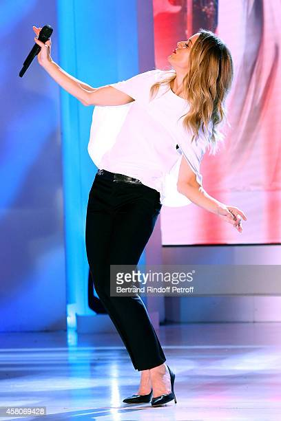 Singer Veronic Dicaire performs imitating Celine Dion and presents her show 'Voices' at l'Olympia during the 'Vivement Dimanche' French TV Show Held...
