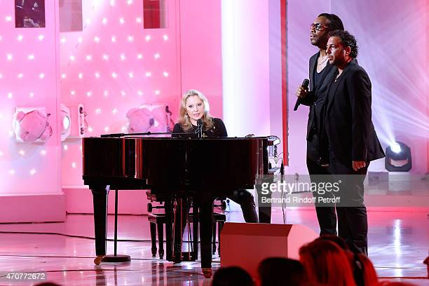 Singer Veronique Sanson performs and presents her Album Best Of 'Les Annees Americaines' during the 'Vivement Dimanche' French TV at Pavillon Gabriel...