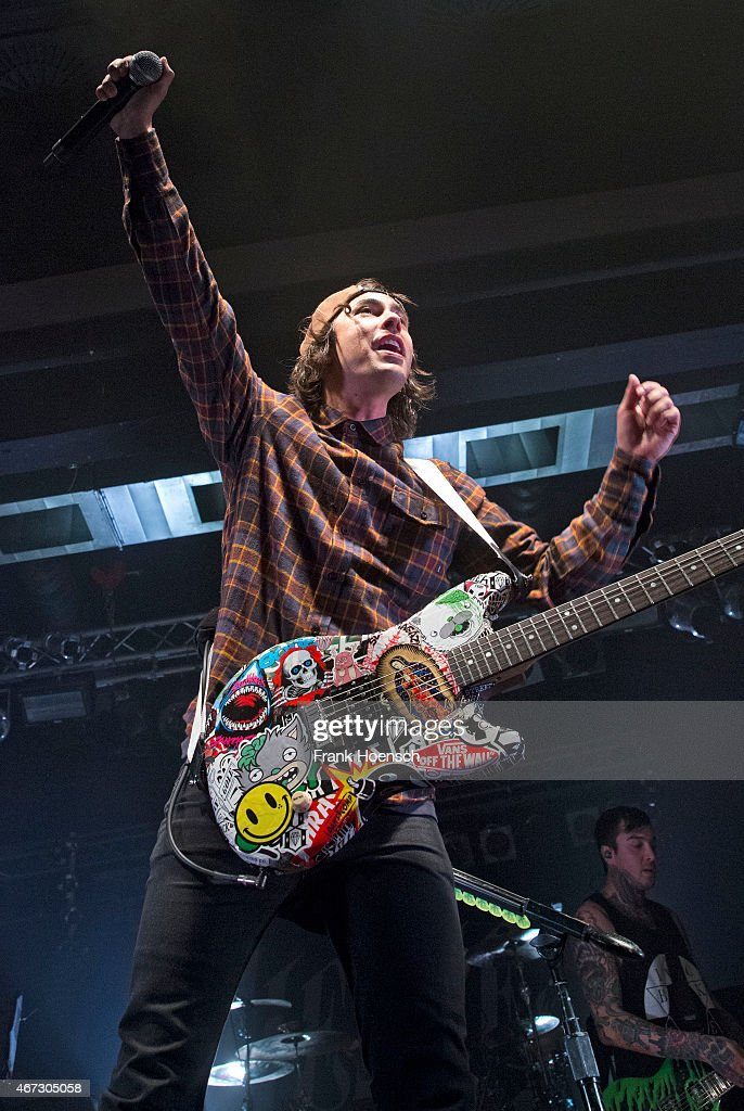 Singer Vic Fuentes of the American band Pierce the Veil performs live during a concert at the C-Club on March 22, 2015 in Berlin, Germany.