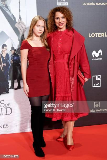 Singer Vicky Larraz and Sophia Cristina Molino attend 'Animales Fantasticos Los Crimenes De Grindelwald' premiere at the Kinepolis cinema on November...