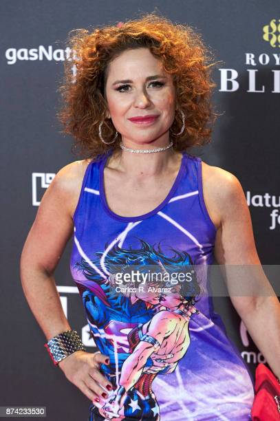 Singer Vicky Larraz attends 'La Liga de La Justicia' premiere at the Kinepolis cinema on November 14 2017 in Madrid Spain