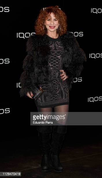 Singer Vicky Larraz attends the IQOS party photocall at Cibeles palace on February 13 2019 in Madrid Spain