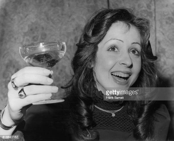 Singer Vicky Leandros celebrates her win for Luxemburg in the Eurovision Song Contest in Edinburgh Scotland 25th March 1972 The song was 'Apres Toi'