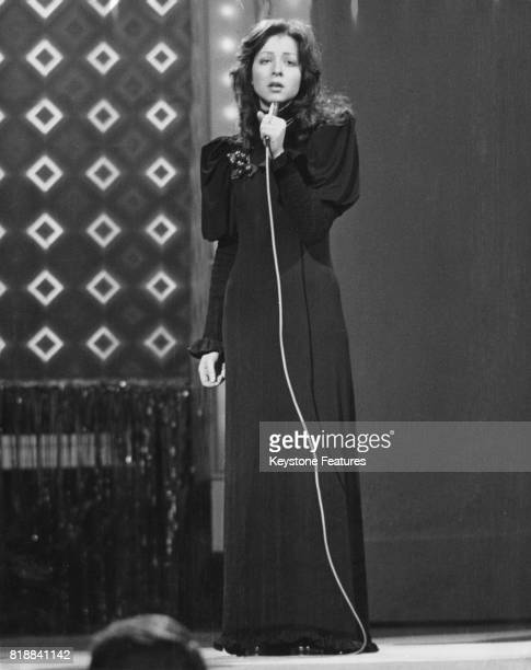 Singer Vicky Leandros wins for Luxemburg with the song 'Apres Toi' in the Eurovision Song Contest in Edinburgh Scotland 25th March 1972