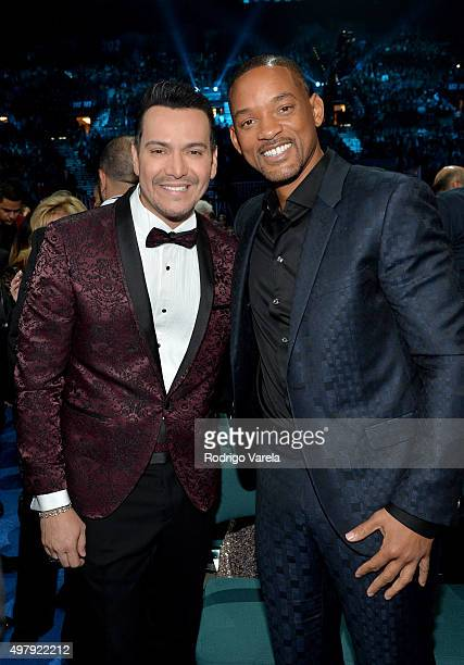 Singer Victor Manuelle and actor/recording artist Will Smith attend the 16th Latin GRAMMY Awards at the MGM Grand Garden Arena on November 19 2015 in...