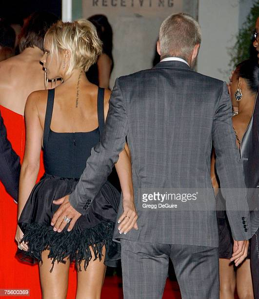 Singer Victoria Beckham and football star David Beckham arrive at the 'Beckham Welcome To LA Party' at the Museum of Contemporary Art on July 22 2007...