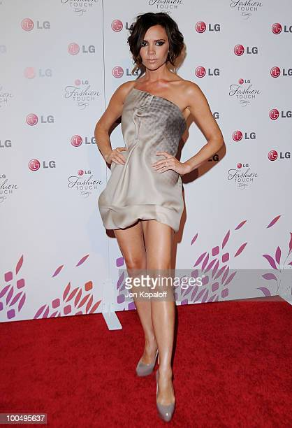 Singer Victoria Beckham arrives at Victoria Beckham And Eva Longoria Parker Host New LG Phones Launch Partyat Soho House on May 24 2010 in West...