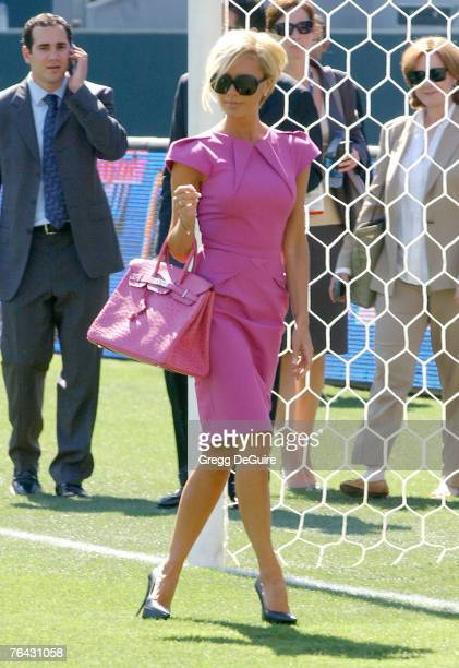 """Singer Victoria Beckham at the """"David Beckham Official Presentation"""" press conference at the Home Depot Center on July 12, 2007 in Carson, California."""