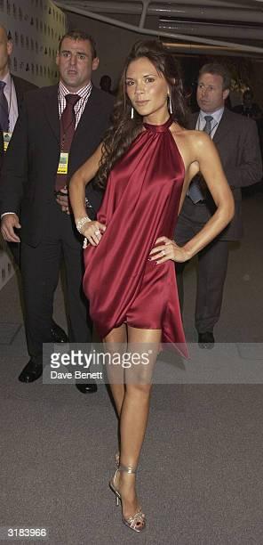 Singer Victoria Beckham attends the Lycra British Fashion Awards held at the Old Billingsgate Market in London on 25th September 2003