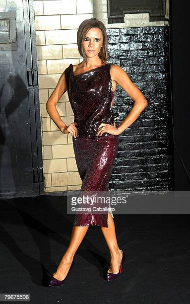 Singer Victoria Beckham attends the Marc Jacobs Fall 2008 fashion show during Mercedes-Benz Fashion Week Fall 2008 at the New York State Armory on...
