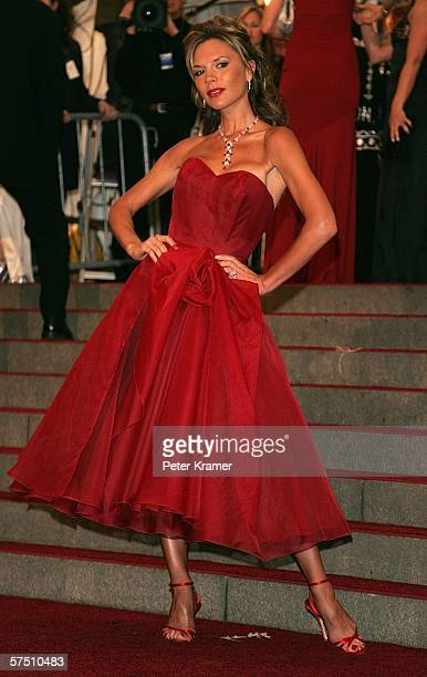 Singer Victoria Beckham attends the Metropolitan Museum of Art Costume Institute Benefit Gala Anglomania at the Metropolitan Museum of Art May 1 2006...