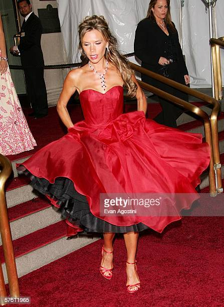 Singer Victoria Beckham attends the Metropolitan Museum of Art Costume Institute Benefit Gala AngloMania Tradition and Transgression in British...
