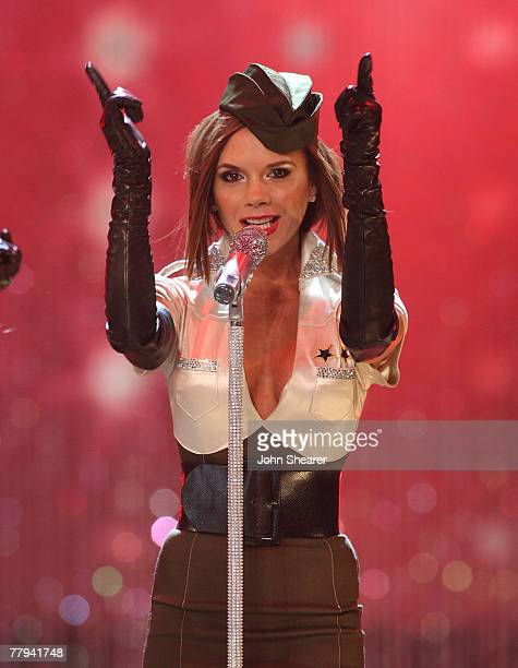 Singer Victoria Beckham of the Spice Girls onstage at the 12th Victoria's Secret Fashion show at the Kodak Theater on November 15 2007 in Hollywood...