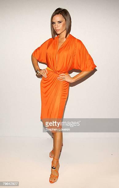 Singer Victoria Beckham poses at the 'Project Runway' Season 4 Fall 2008 fashion show during MercedesBenz Fashion Week Fall 2008 at The Tent at...