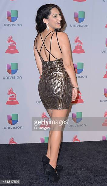 Singer Victoria poses backstage during The 14th Annual Latin GRAMMY Awards at the Mandalay Bay Events Center on November 21 2013 in Las Vegas Nevada
