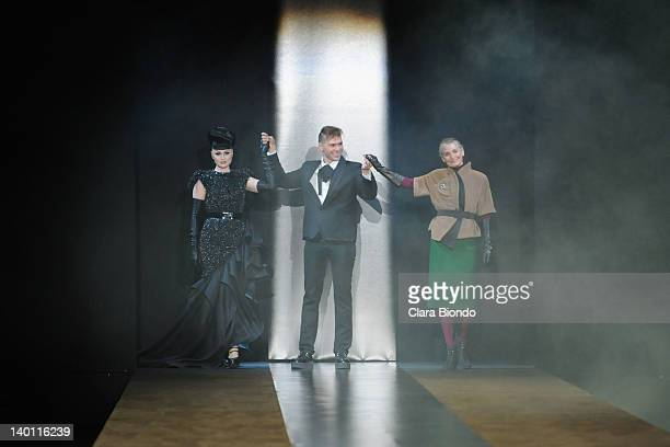Singer Viktoria Modesta Designer Sergei Grinko and Benedetta Barzini the runway during the Sergei Grinko fashion show as part of Milan Womenswear...
