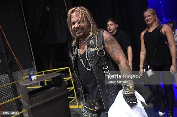 Singer Vince Neil backstage at the 2014 iHeartRadio Music Festival at the MGM Grand Garden Arena on September 19 2014 in Las Vegas Nevada
