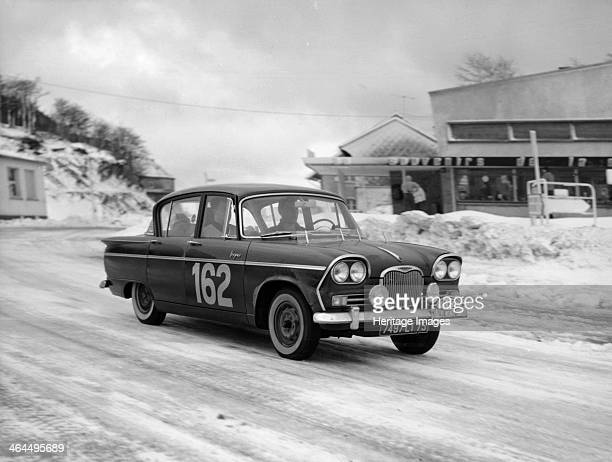 A Singer Vogue in the Monte Carlo Rally January 1962 Claude Savoye and Etienne Gerard in their Singer Vogue on the summit of Col de Schlucht between...