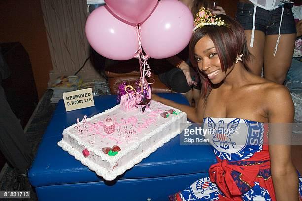 Singer Wanita Woodgette aka D Woods of Danity Kane celebrating with her 'It's A Girl Birthday Tour' cake at the 2nd annual It's a Girl Birthday Tour...