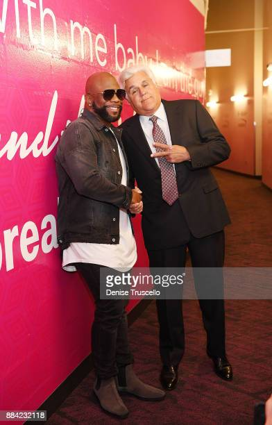 Singer Wanya Morris of Boyz II Men and comedian Jay Leno pose for a photo at the Vegas Strong Benefit Concert at TMobile Arena to support victims of...