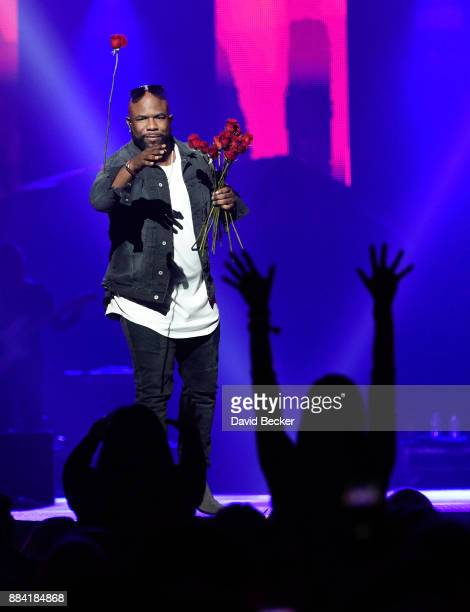 Singer Wanya Morris of Boyz II Men performs at the Vegas Strong Benefit Concert at TMobile Arena to support victims of the October 1 tragedy on the...