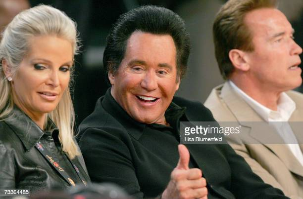 Singer Wayne Newton wife Kathleen McCrone and the Governor Arnold Schwarzenegger watch 2007 NBA All Star Game on February 18 2007 at Thomas Mack...