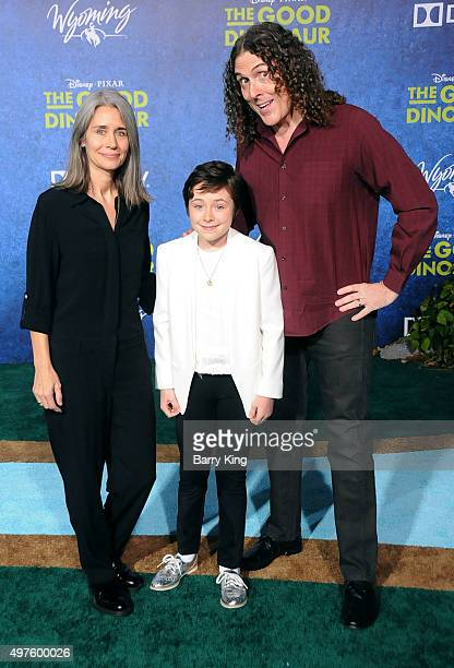 Singer Weird Al Yankovic and wife Suzanne Krajewski and daughter Nina Yankovic attend the Premiere of DisneyPixar's 'The Good Dinosaur' at the El...
