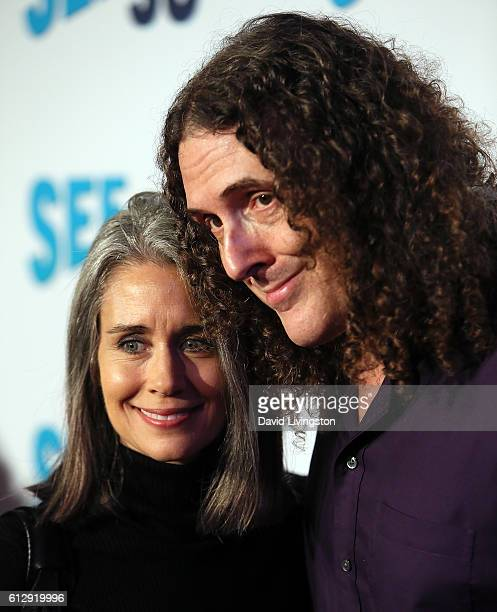 Singer Weird Al Yankovic and wife Suzanne Krajewski attend the premiere of Seeso's Bajillion Dollar Properties Season 2 at The Theatre at Ace Hotel...