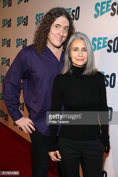 Singer Weird Al' Yankovic and wife Suzanne Krajewski attends the premiere of Seeso's Bajillion Dollar Properties Season 2 at The Theatre at Ace Hotel...