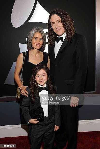 Singer 'Weird' Al Yankovic wife Suzanne Krajewsk and daughter Nina arrive at the 54th Annual GRAMMY Awards held at Staples Center on February 12 2012...