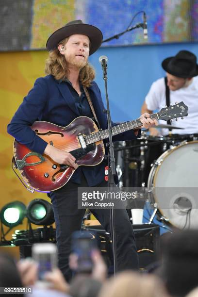 """Singer Wesley Schultz of The Lumineers performs on ABC's """"Good Morning America"""" at Rumsey Playfield, Central Park on June 16, 2017 in New York City."""