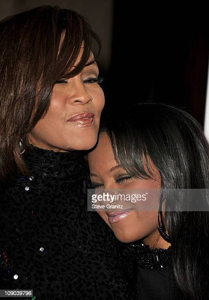 Singer Whitney Houston and her daughter Bobbi Kristina arrive at the 2011 PreGRAMMY Gala and Salute To Industry Icons Honoring David Geffen at The...