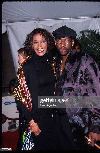 Singer Whitney Houston and her husband Bobby Brown attend the party after the 1999 VH1 Divas Live Concert April 13 1999 in New York City Clive Davis...