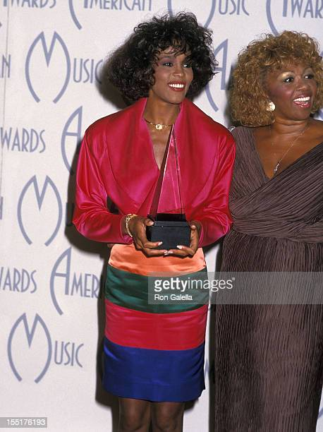 Singer Whitney Houston and mother Cissy Houston attend the 15th annual American Music Awards on January 25 1988 at Shrine Auditorium in Los Angeles...