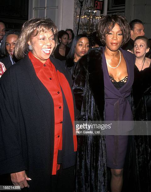 Singer Whitney Houston and mother Cissy Houston attend the 40th Annual Grammy Awards PreParty Hosted by Clive Davis on February 24 1998 at The Plaza...