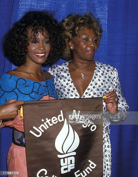 Singer Whitney Houston and mother Cissy Houston attend the Press Conference to Announce Her Appearance at A Benefit Concert for The United Negro...