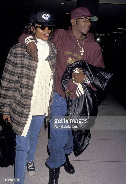 Singer Whitney Houston and singer Bobby Brown depart for New York City on February 10 1994 at Los Angeles International Airport in Los Angeles...