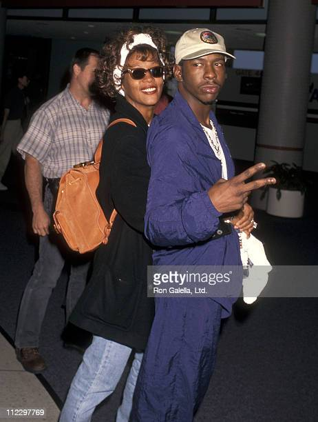 Singer Whitney Houston and singer Bobby Brown depart for New York City on October 6 1996 at Los Angeles International Airport in Los Angeles...