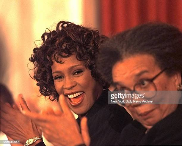Singer Whitney Houston appeared at a Capital Hill press conference announcing her concert to be held Sunday Oct5 to benefit the Childrens Defense...