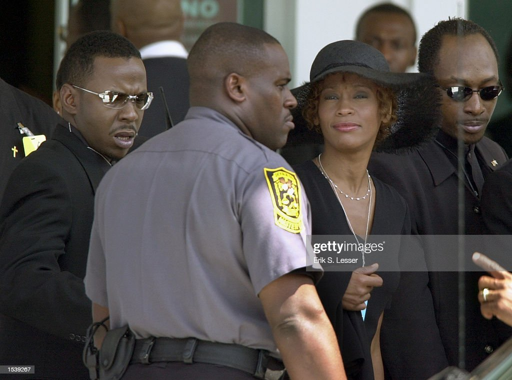 Singer Whitney Houston arrives to attend the public funeral