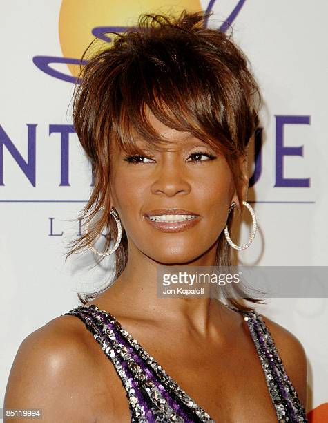 Singer Whitney Houston arrives to the Clive Davis PreGrammy Party at the Beverly Hilton Hotel on February 9 2008 in Beverly Hills California