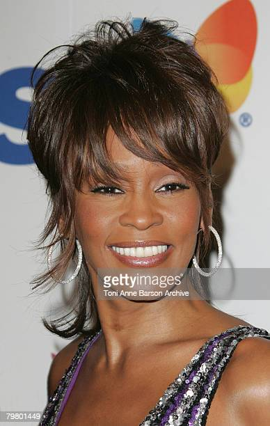 Singer Whitney Houston attends the 2008 Clive Davis PreGRAMMY party at the Beverly Hilton Hotel on February 9 2008 in Los Angeles California