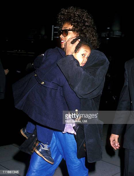 Singer Whitney Houston on January 27 1989 arrives at Los Angeles International Airport in Los Angeles California
